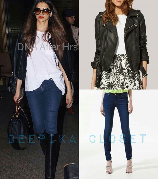 Deepikapadukone Spotted At The Airport Wearing Majeofficial Leather Jacket Zara Jeans Styled By Shal Zara Leather Jacket Deepika Padukone Zara Jeans