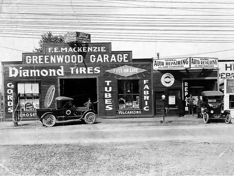 Greenwood Garage Old gas stations, Gas station, Greenwood