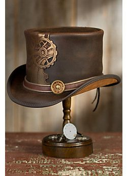 0989c59d Steampunk Sprocket Leather Top Hat   SteamPunk   Leather top hat ...
