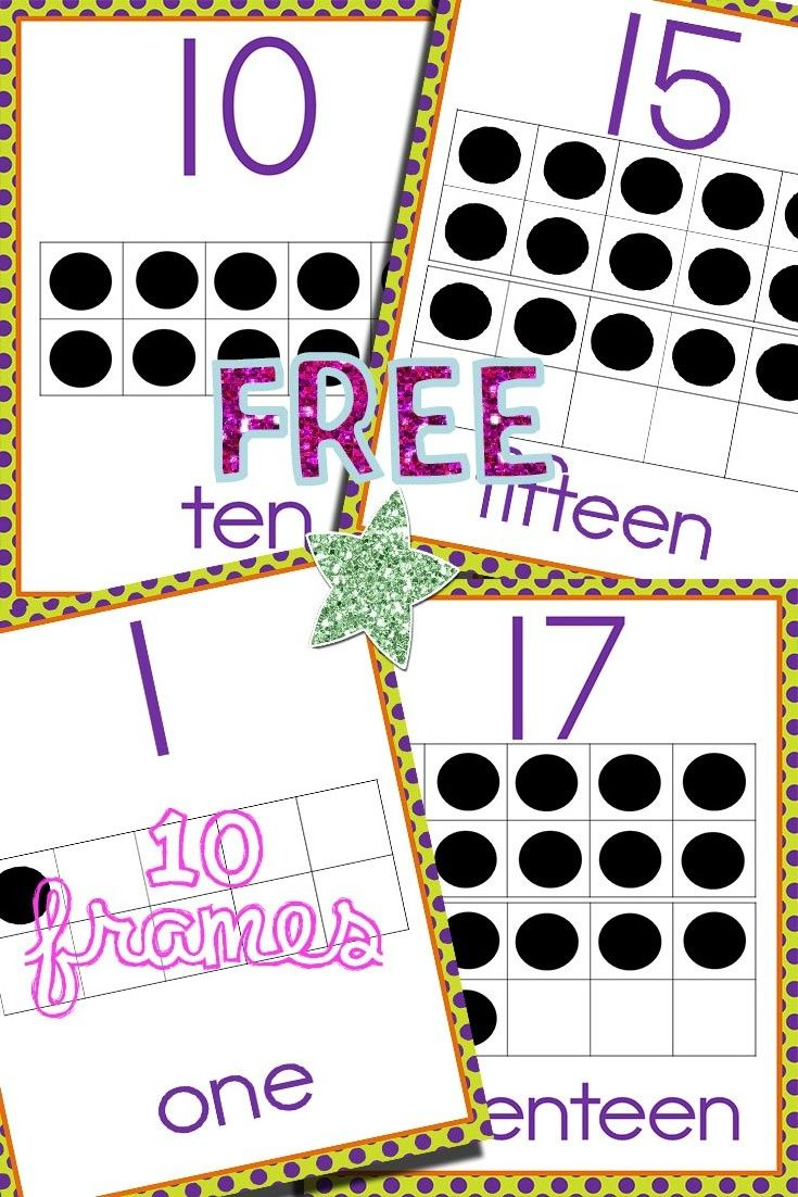 Free Ten Frames 1 To 20 Posters Ten Frames Numbers Preschool Ten Frames Kindergarten
