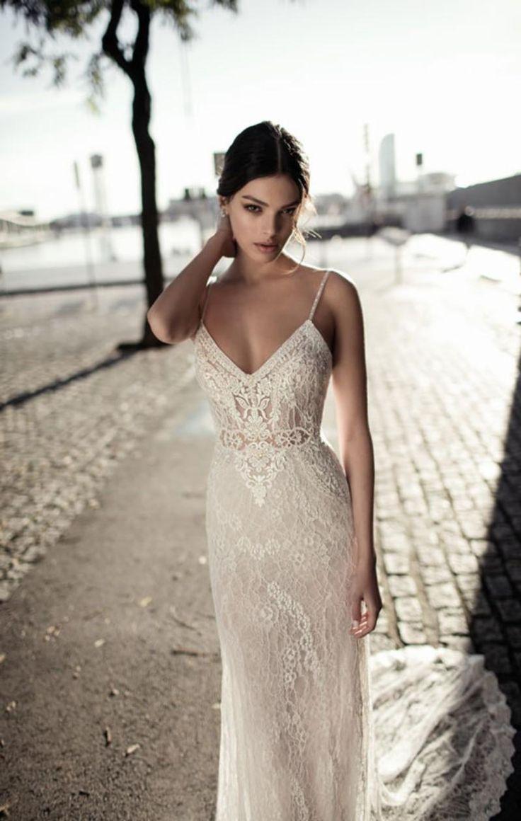Gali Karten 2018 Sexy Meerjungfrau Brautkleider Backless Spaghetti Neck Lace