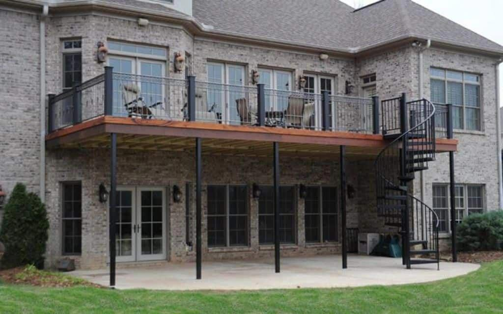 High Deck With Metal Spiral Staircase Deck Staircase