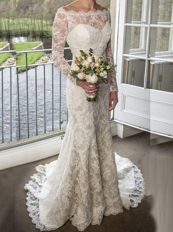 Sheath Off The Shoulder Long Sleeves Sweep Train Lace Wedding Dress