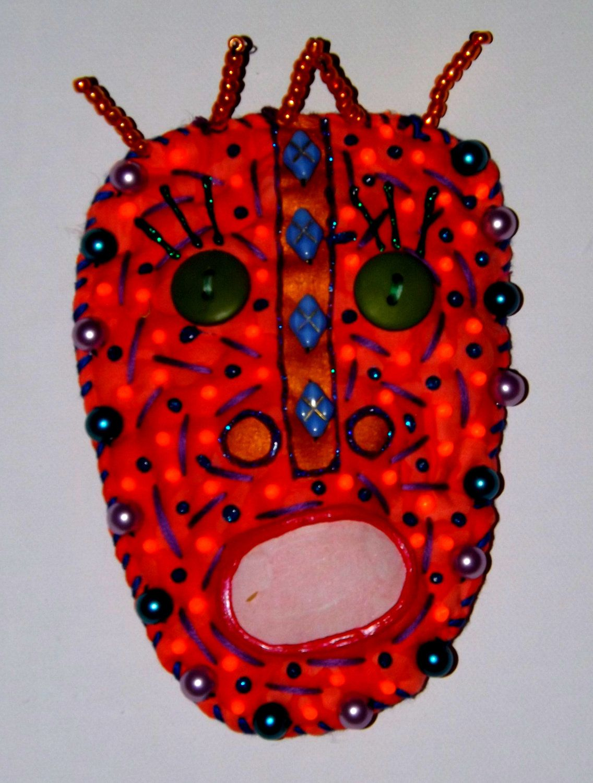 ButtonArtMuseum.com - STUCKY Tribal Voo Doo mask - Fabric, beaded and embellished - Original outsider folk art. $35.00