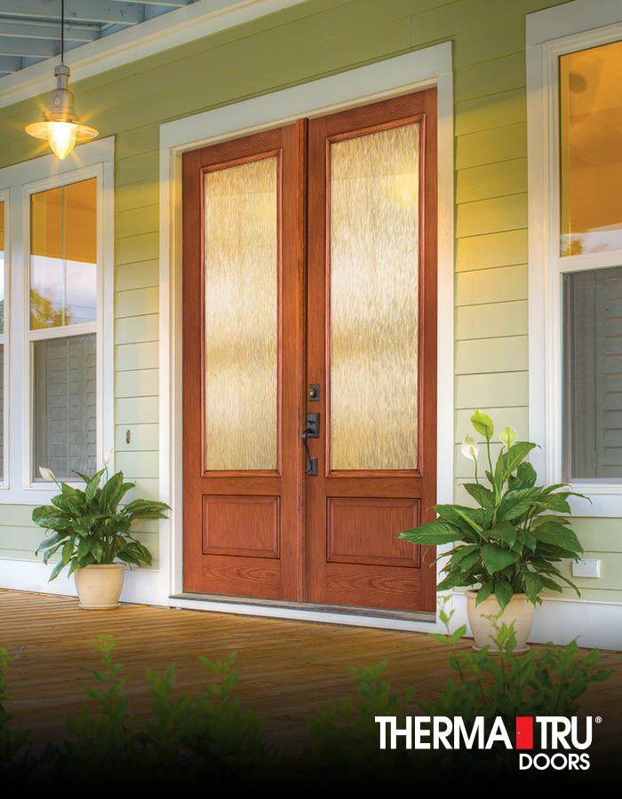 3 4 Lite Woodgrain Stained Fiberglass Door With Privacy Glass By Therma Tru Glass Front Door Privacy Front Entry Doors Fiberglass Door
