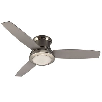 Harbor Breeze Ceiling Fan 41090 52 In 3 Blade Brushed Nickel Flush Mount Indoor Residential Remote C Flush Mount Ceiling Fan Ceiling Fan With Light Ceiling Fan