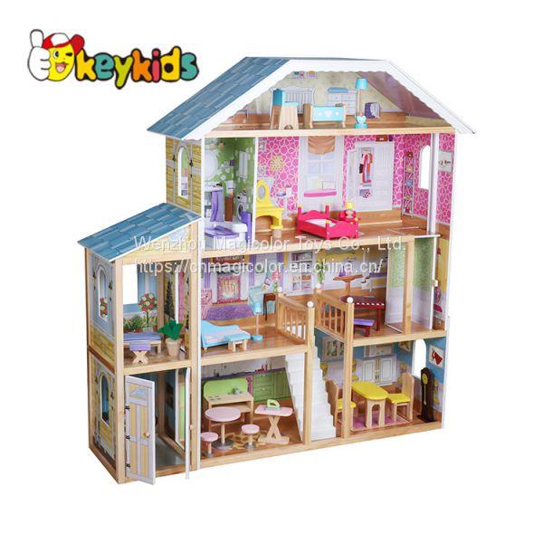 Kids Big Wooden Doll Dollhouse Cottage House Girls Pretend Play Set w// Furniture
