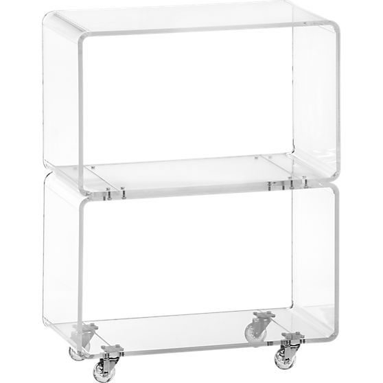 Peekaboo Clear Coffee Table: Peekaboo Acrylic Rolling Two Shelf