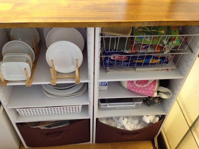 食器棚なんていらない 激安カラーボックスで作るキッチン収納棚