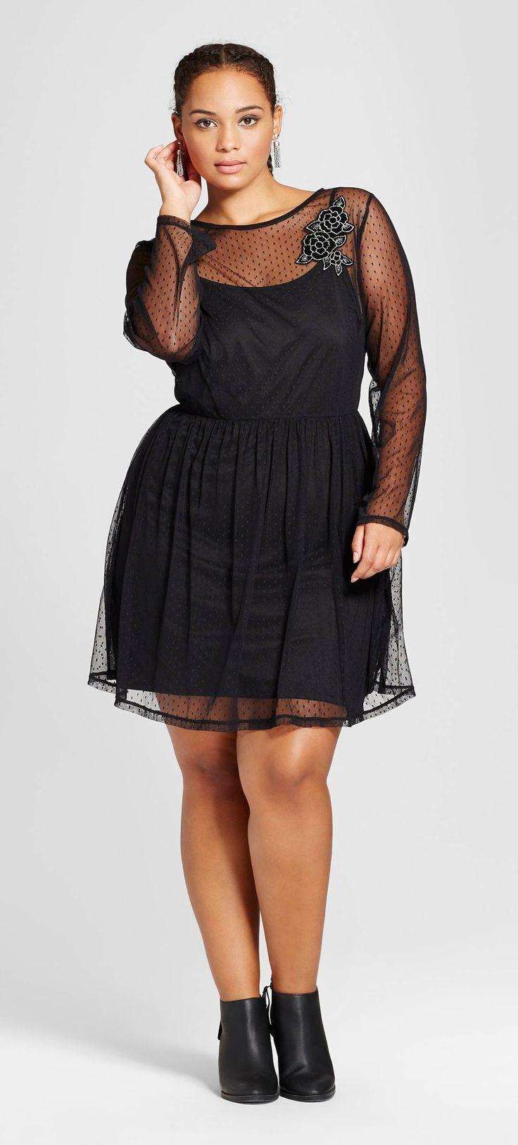 Plus Size Floral Embroidered Mesh Dress Plus Size Fashion