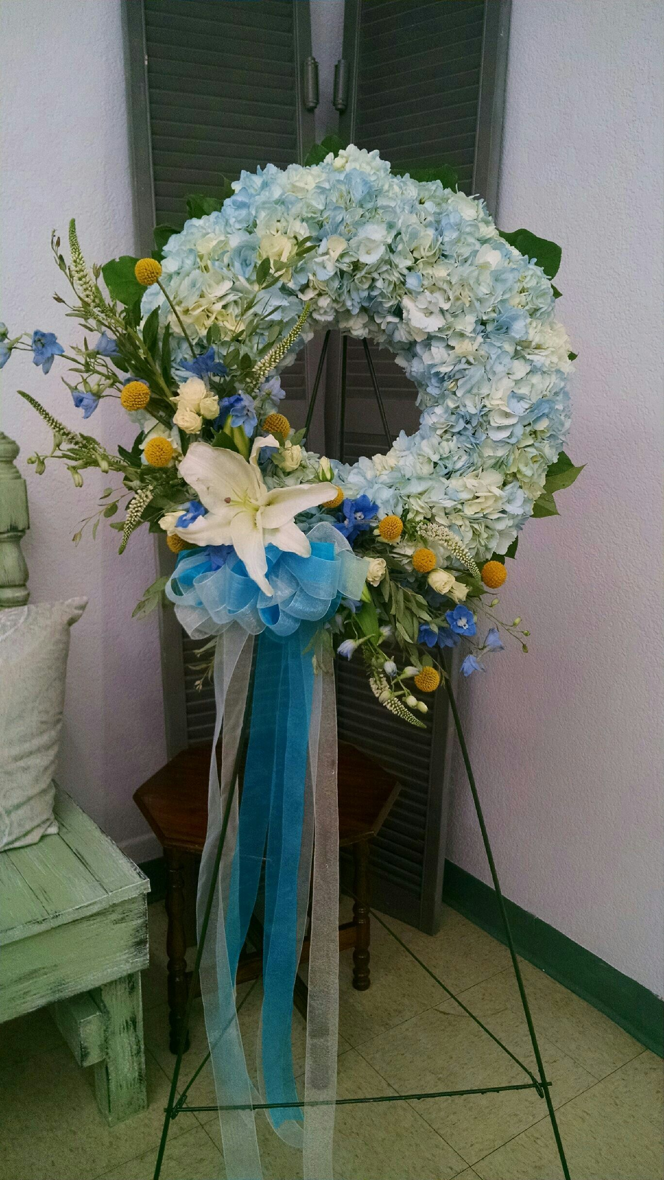 Blue Hydrangea Wreath Riverside Flower Club Funeral Flowers Wreath Decor Blue Hydrangea Wreath