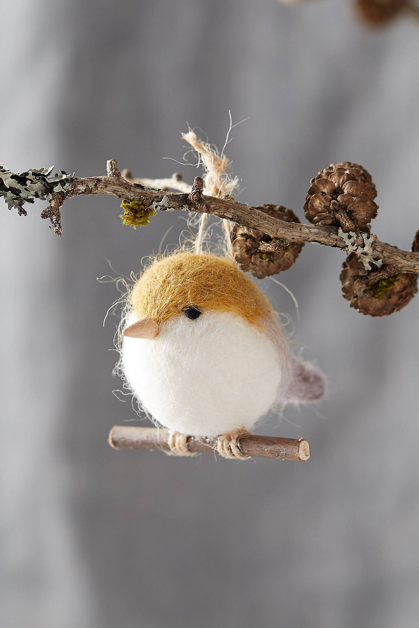 Felt Bird on a Branch Ornament by Anthropologie in Grey, Terrain #feltbirds