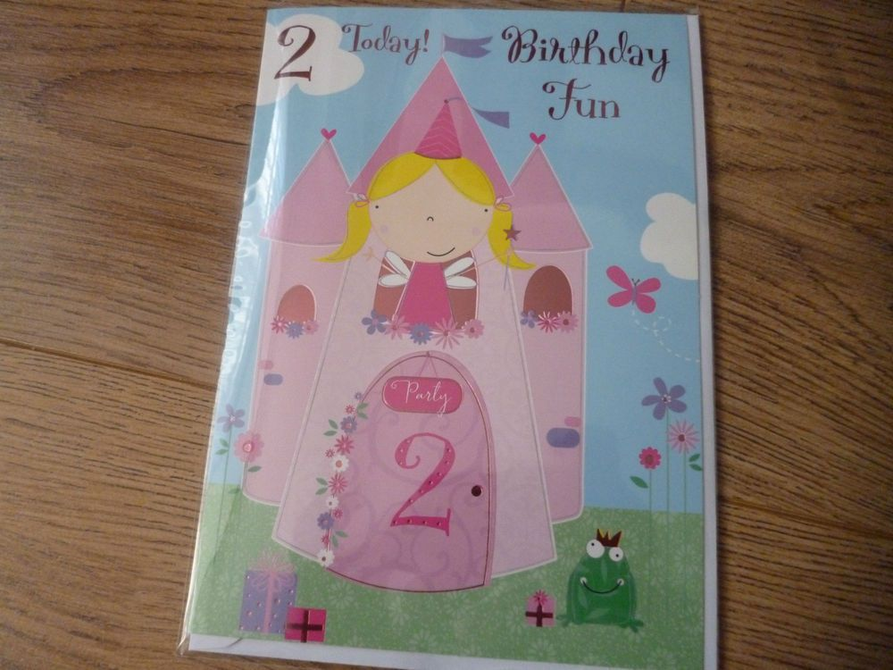 Happy birthday card*birthday fun*2 today*for age two*girl