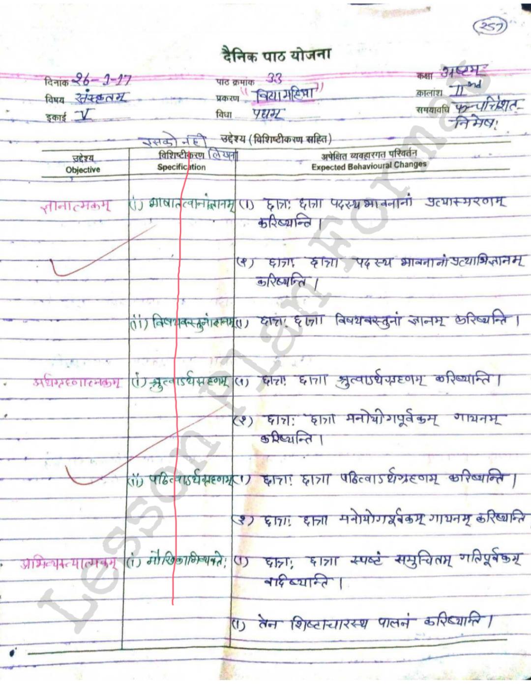 class 8 Sanskrit Lesson Plan for b.ed | Lesson plan format