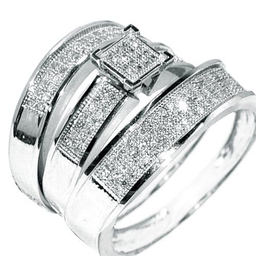 white gold trio wedding set mens womens wedding rings matching 038ct w diamond rings - Wedding Ring Trio Sets
