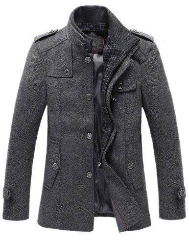 a03759ccae8b0 The Ellis Mandarin Short Trench Charcoal - leatherandcotton Mens Fashion  Winter Coats