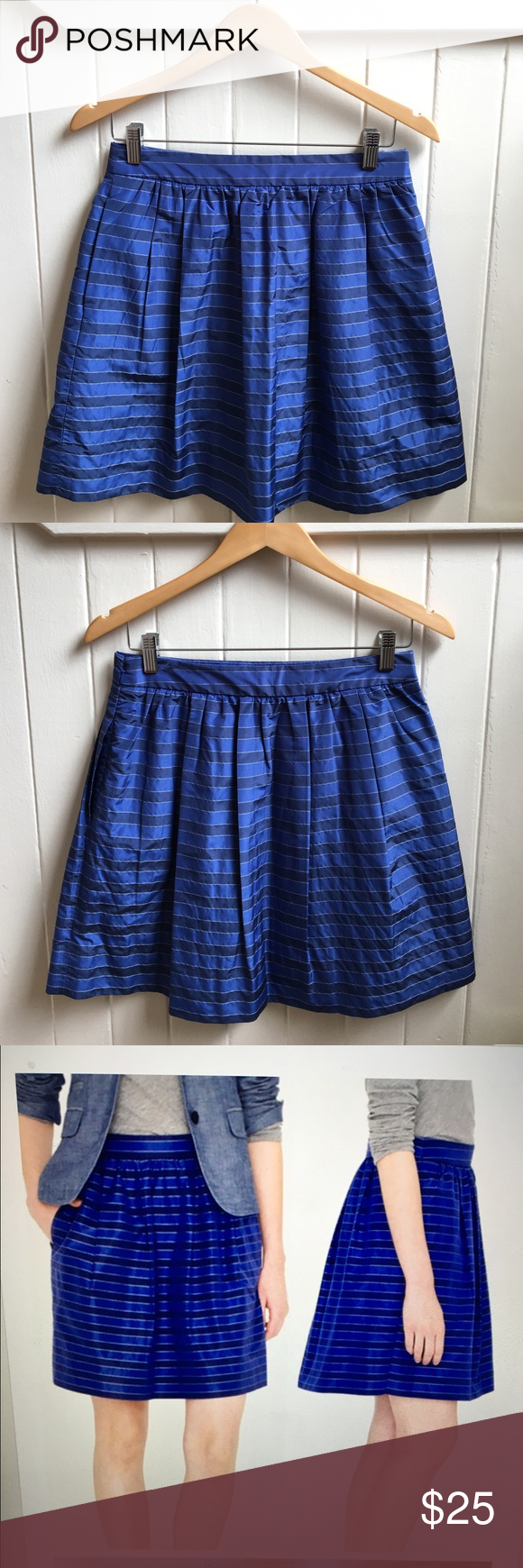 "J. Crew Silk Blend Striped Skirt EUC Beautiful dainty silk blend striped skirt. Pleated and fully lined. Hidden pockets in the front. Side zipper. 19"" from waist to hem.  Excellent condition. J. Crew Skirts"