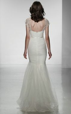 Christos Spring 2014 Mermaid Bridal Dress with Beaded Cap Sleeves Ruched tulle Fit-to-flare bridal gown with hand beaded cap sleeves. Style: ANNETTE - Google Search