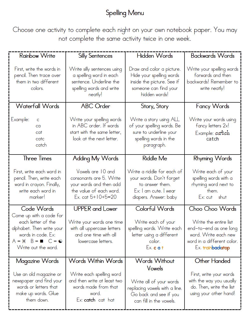 Spelling Menu.pdf Spelling word activities, Teaching