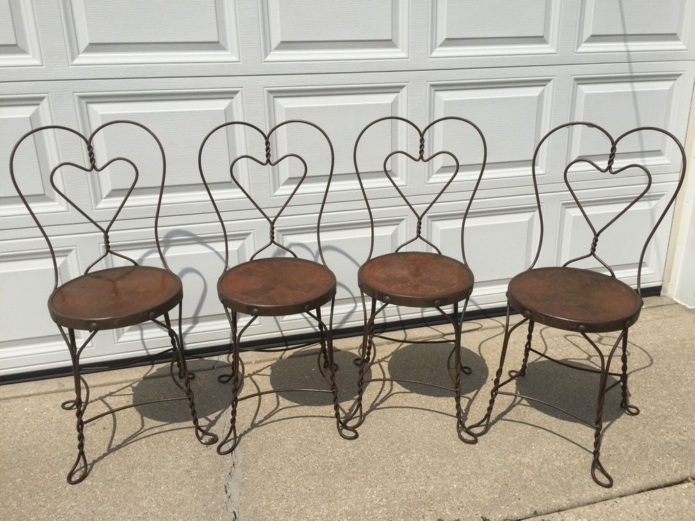 (4) Vintage Sweetheart Ice Cream Parlor Chairs w/Embossed Floral Wood Seats - 4) Vintage Sweetheart Ice Cream Parlor Chairs W/Embossed Floral Wood