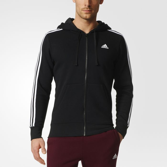 adidas Athletics Essentials Cotton Fleece 3 Stripes Full Zip Hoodie, Real