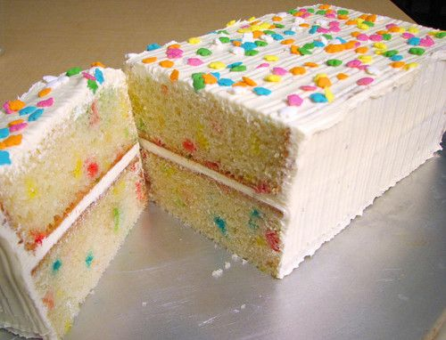 Confetti cake!    I love the way confetti cake looks and the neat square loaf shape of this particular confetti cake is so fitting and striking. Allows for a beautiful cross section view of the cake inside when it's cut! I might be wrong but this cake looks like it might have whipped buttercream icing. I prefer the thick, traditional buttercream icing because it has a more substantial taste and texture.    The square loaf shape also allows for each slice to be even, cute, and…