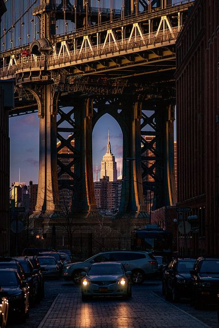 Framed Empire State Building & Brooklyn Bridge from Washington St ~ Brooklyn, New York