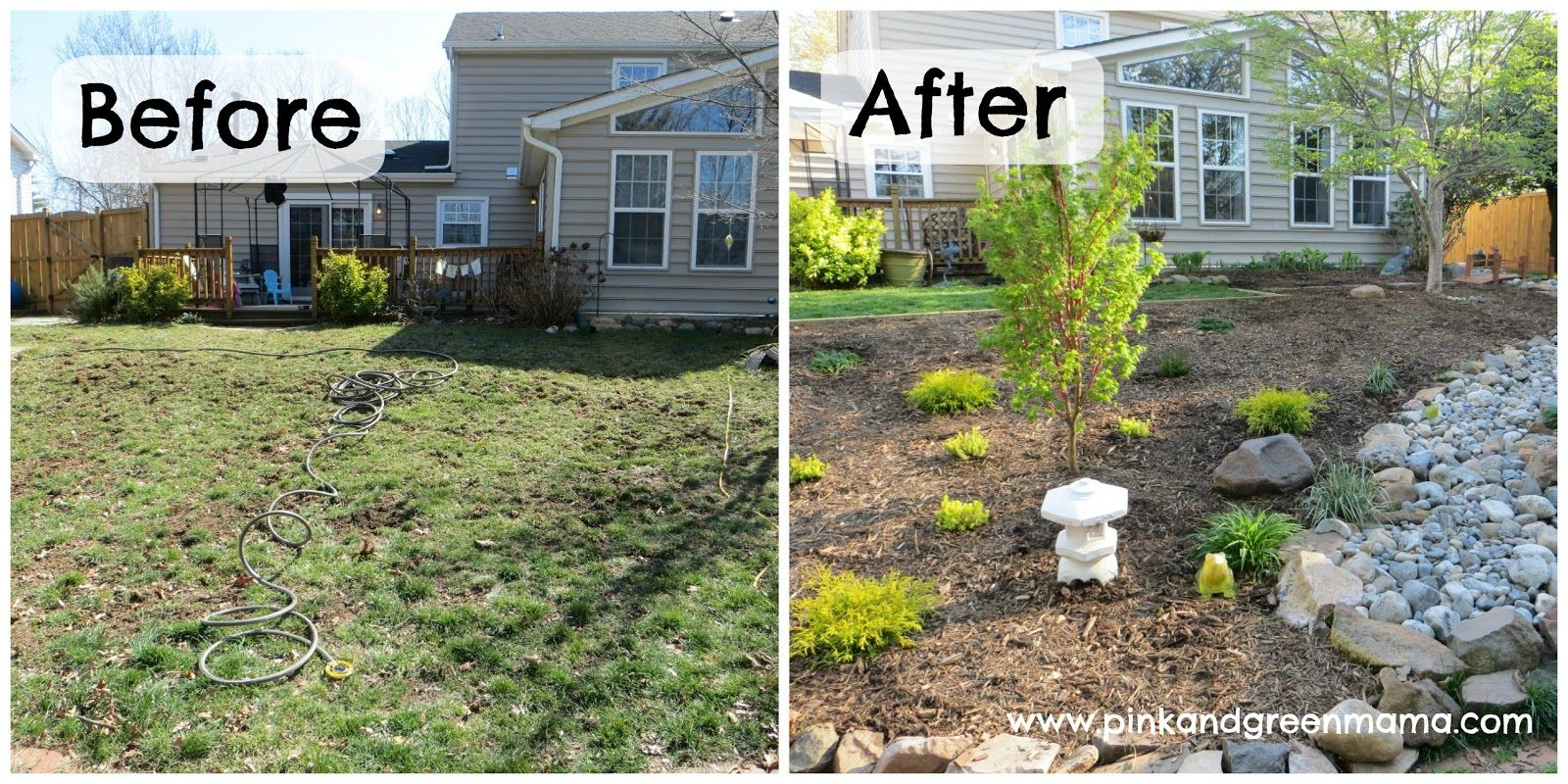 before and after diy backyard makeover on a budget from pink and green mama blog - Backyard Garden Ideas Before And After