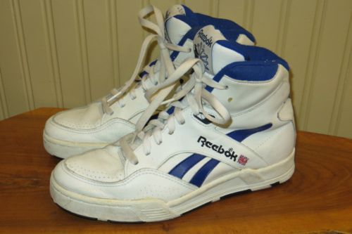 Vintage 80s Reebok Mens White blue Leather High Top Basketball Shoes ... 570b1532b