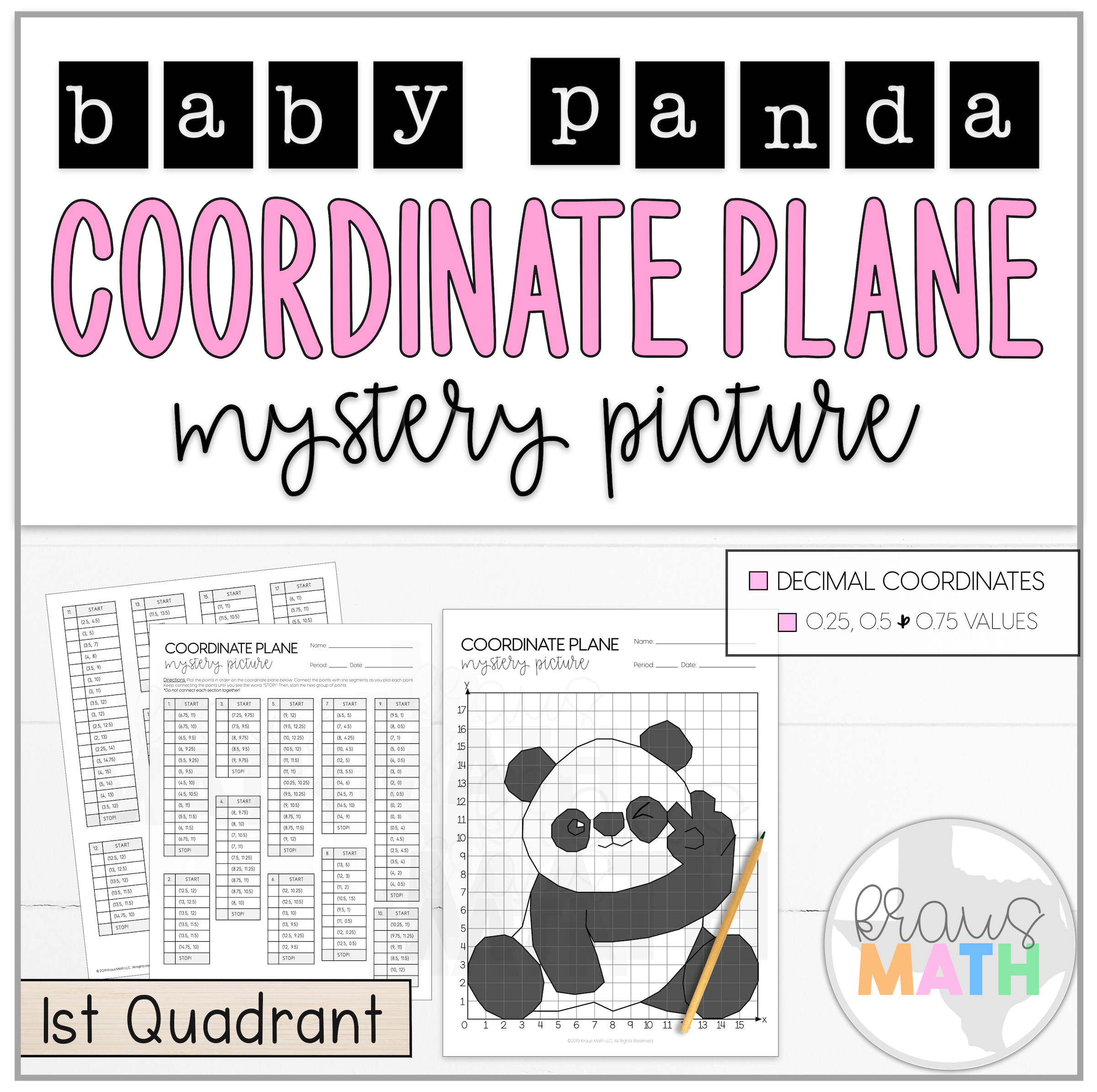 Cute Baby Panda Coordinate Plane Mystery Picture 1st