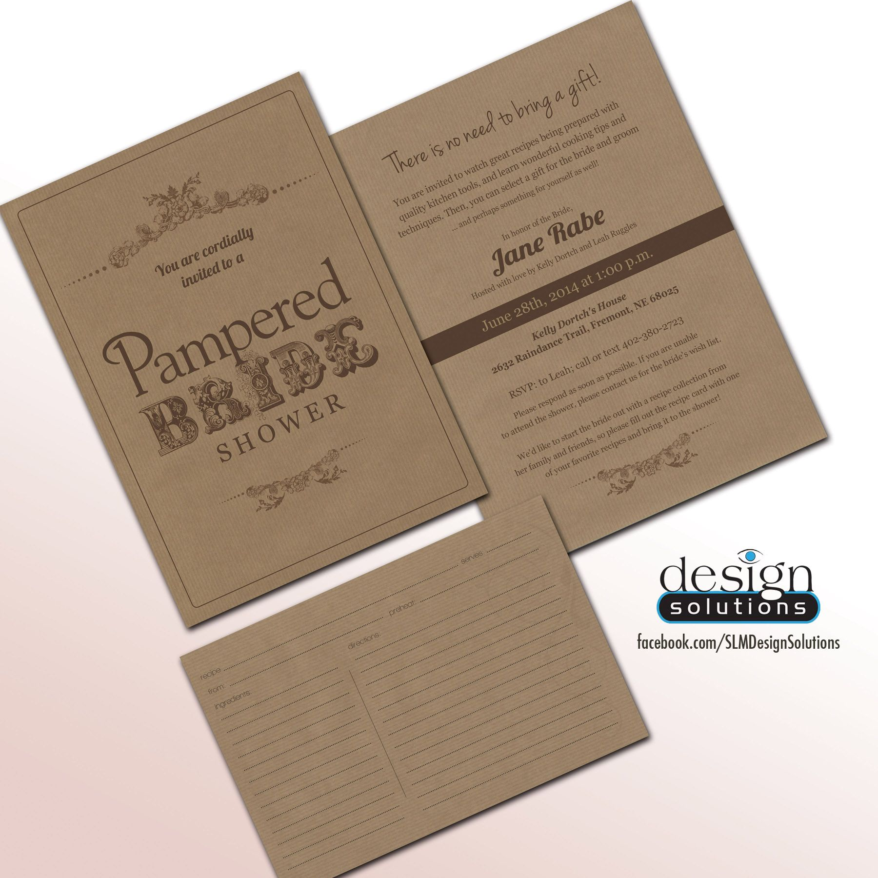 a86682b69d3e Unique Pampered Chef Bridal Shower Invitations with Recipe Card. Custom  designs and more affordable then DYI websites. Like on - FB  SLMDesignSolutions ...