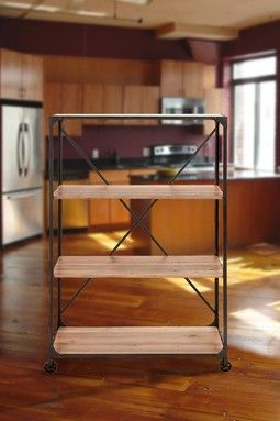 Brown Metal Wood Shelf