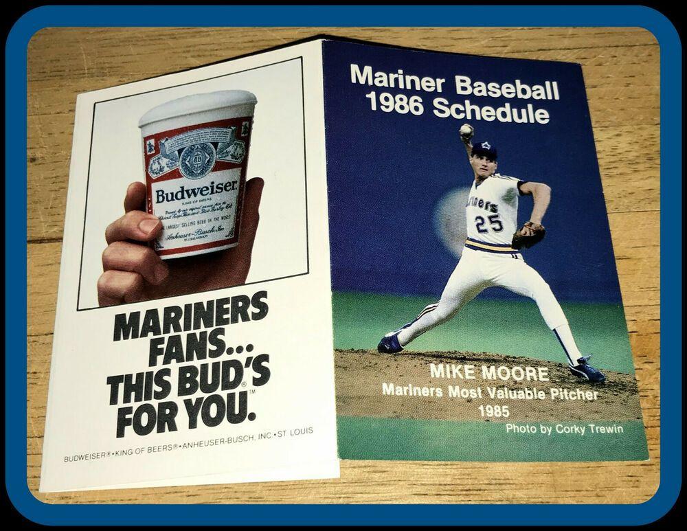 1986 SEATTLE MARINERS BUDWEISER BASEBALL POCKET SCHEDULE