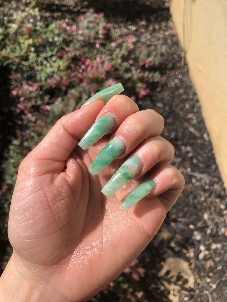 Pin by emma j on nails in 2020 Green acrylic nails, Jade