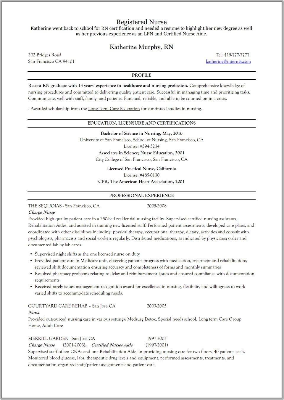 Registered Nurse Resume Rehab  Resume    Registered