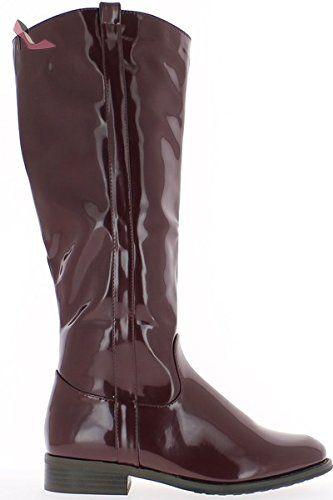 À Chaussures 3cm Femme Pluie Bottes De Talon Bordeaux 39 H2I9YWDE
