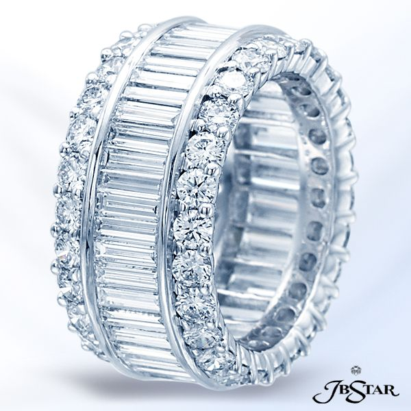 Style 1832 Platinum eternity diamond band handcrafted with straight baguettes set in a channel with round diamond pave.