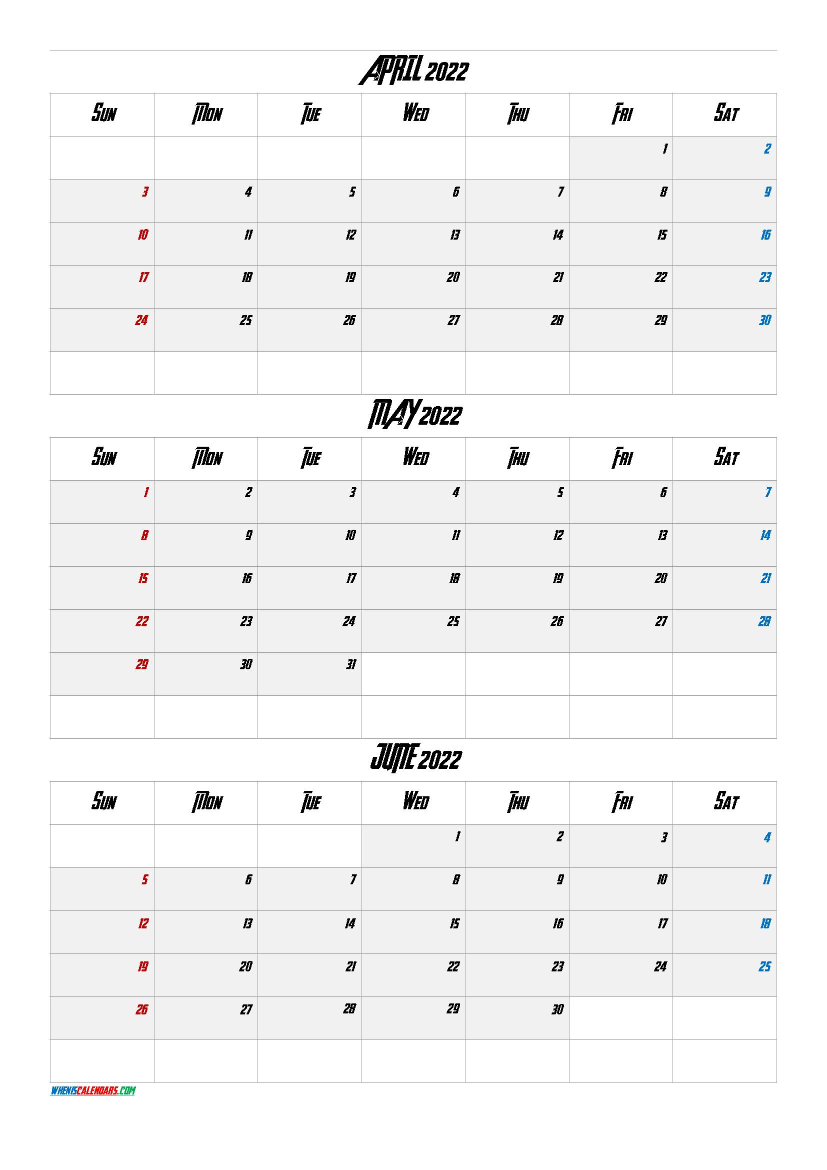 April May June 2022 Calendar Printable Free [Q1 Q2 Q3 Q4