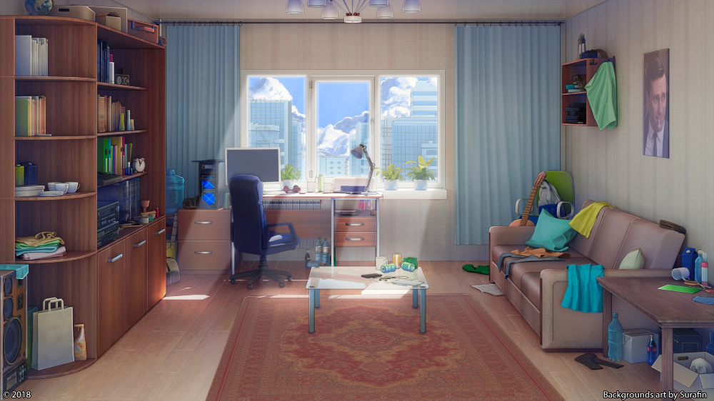 Anime Original Interior Sofa Room Wallpaper Anime Background Living Room Background Anime Scenery