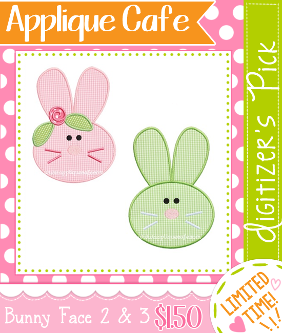 Double Digitizer's Pick 1/2/16 ~ Bunny Face 2 and 3 Designs
