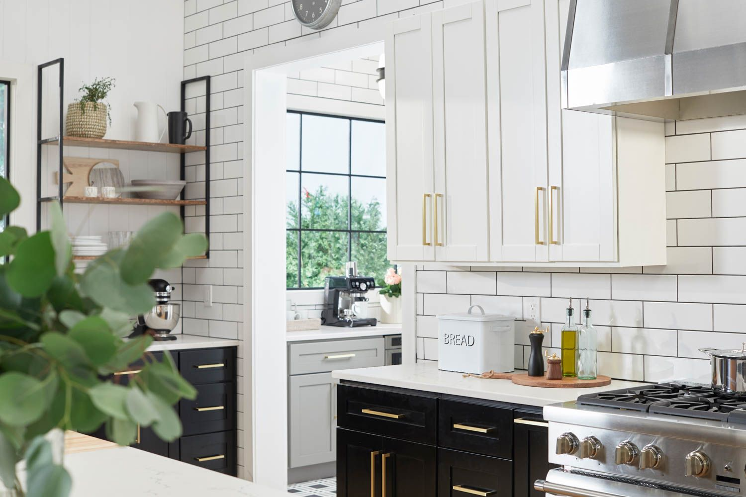 Mixed Metals Subway Tile Black And White Contrast Open Shelving Seriously A Fantasy Kitchen Modern Farmhouse Kitchens Kitchen Farmhouse Style Kitchen