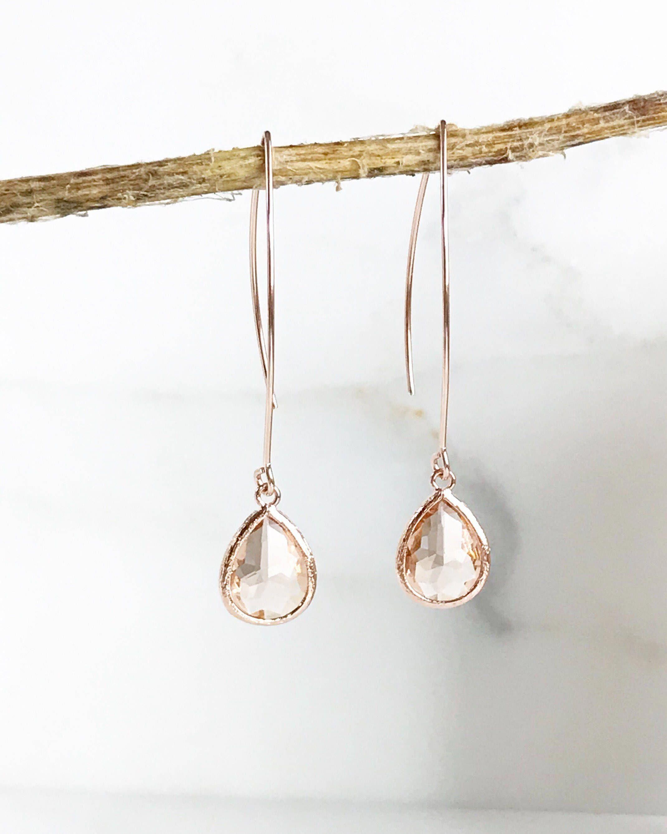 Rose Gold and Champagne Drop Earrings. Bridesmaid Gift. Rose Gold Drop Earrings. Wedding Jewelry. Simple Earrings. Dangle Earrings. Gift