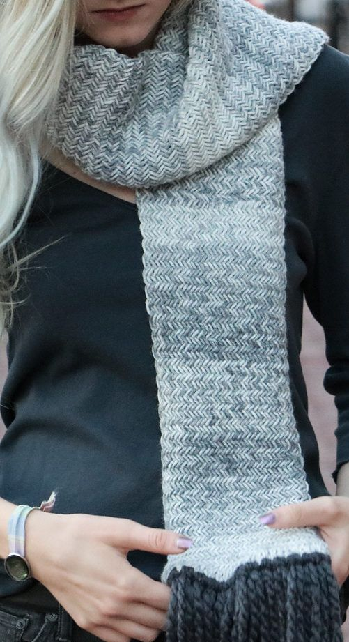 Free Knitting Pattern for Herringbone Scarf - Cozy scarf knit in ...