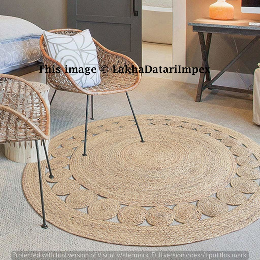 Indian Hand Braided Bohemian White Dye Round Jute Area Rug Natural Carpet Jute Round Rug Area Rugs Floor Rugs Custom S Jute Round Rug Rug Decor Jute Area Rugs