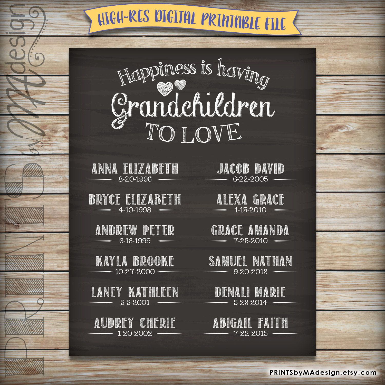 Grandchildren Sign Personalized Grandkids Sign With Names Etsy Diy Gifts For Grandma Grandparent Gifts Grandkids Sign
