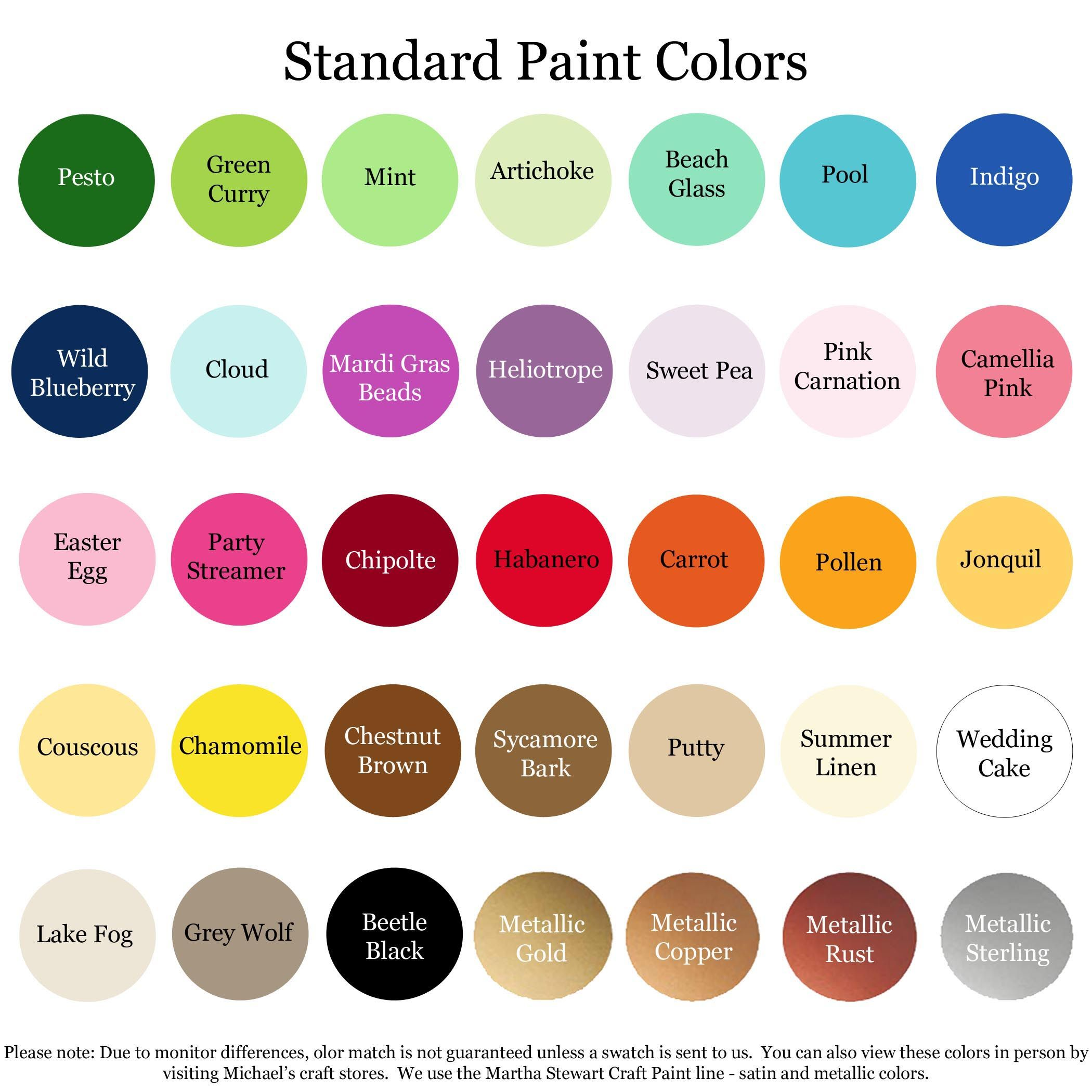 Here Are My Standard Paint Color Offerings If You Would Like To See