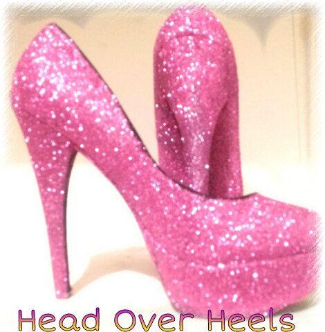 Hot Pink Glitter Platform High Heels | Pink high heels | Pinterest ...