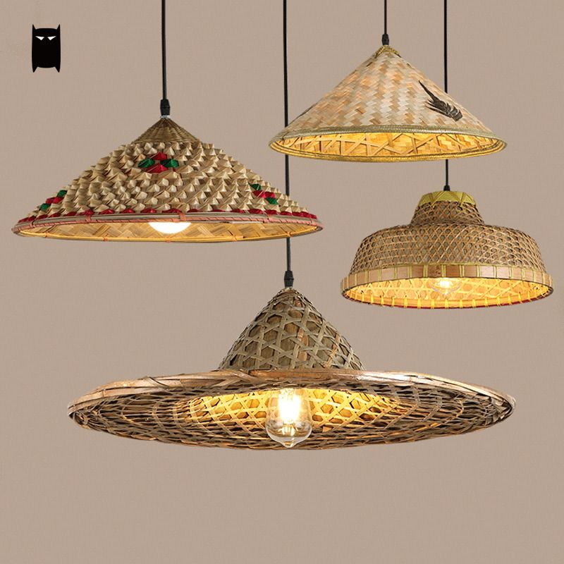 Bamboo Wicker Rattan Hat Shade Pendant Light Fixture Asian Hanging