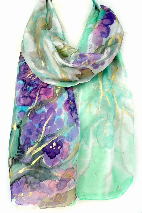 Crepe de chine long silk scarf Print of Van Gogh Irises Blue//green   NEW