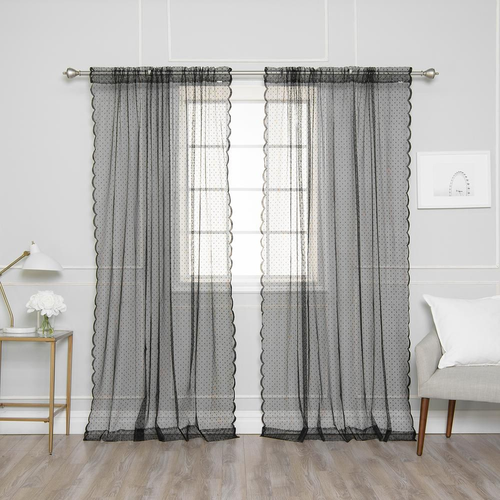 Best Home Fashion 84 In L Black Sheer Lace Dot Curtain Panel 2